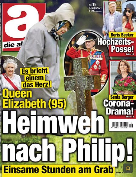 Es bricht einem das Herz! - Queen Elizabeth (95) - Heimweh nach Philip! - Einsame Stunden am Grab [dazu dasselbe Foto, das Queen Elizabeth bei der Inspektion der Pferde zeigt - allerdings sind die Pferde wegretuschiert, stattdessen wurden Grabsteine ins Foto montiert, als würde die Queen über einen Friedhof gehen]