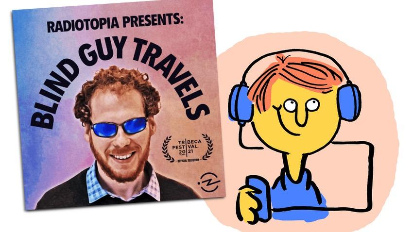 """Logo """"Blind Guy Travels"""" mit lachendem Podcasthörer"""