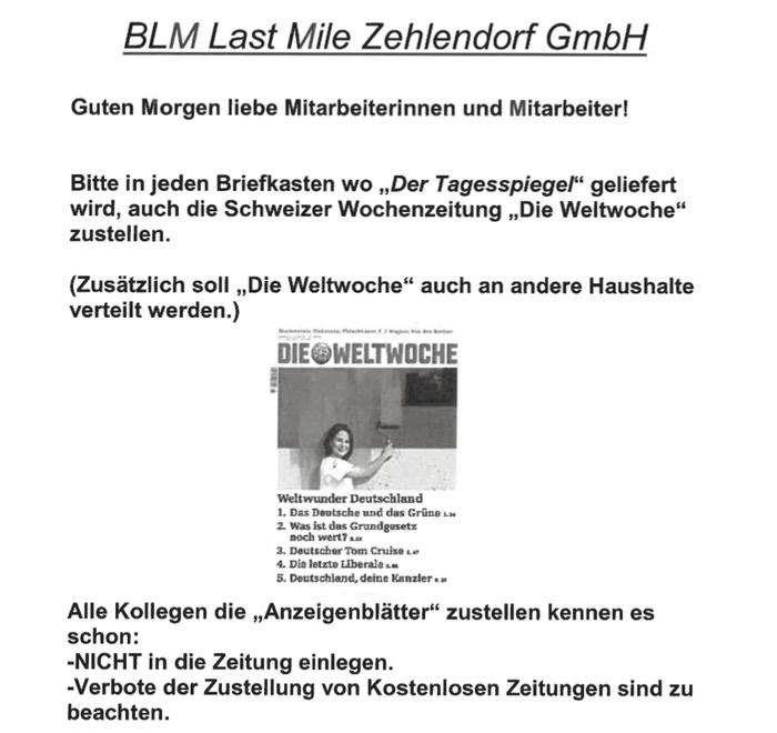 Hausmitteilung BLM Zehlendorf