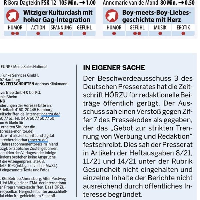 """""""Hörzu"""" veröffentlicht """"In eigener Sache"""" Rüge durch Presserat"""
