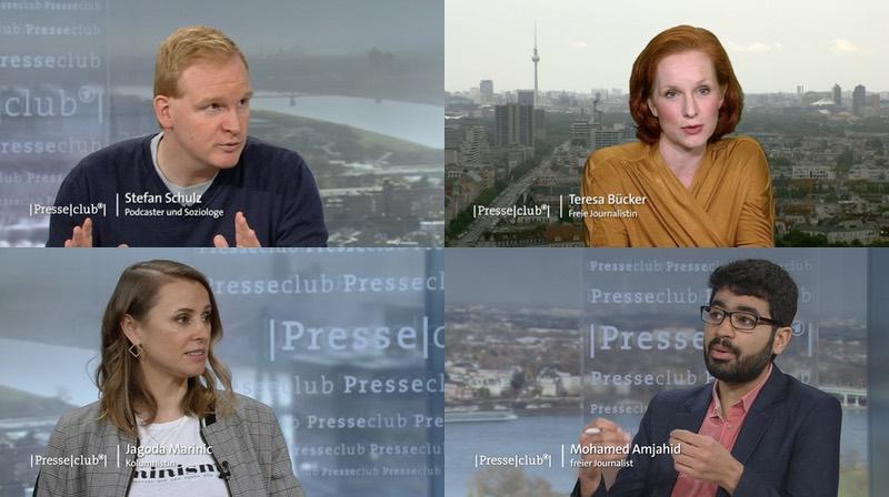 Presseclub-Gäste: Stefan Schulz, Teresa Bücker, Jagoda Marinić, Mohamed Amjahid