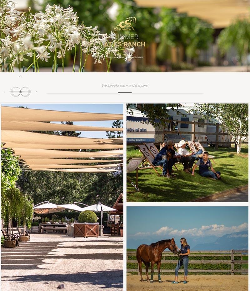 [Screenshot der Website der Ranch, zu sehen sind einige Impressionen von der Ranch, z.B. eine Frau, die ein Pferd streichelt oder eine Gruppe von Menschen, die auf einer Wiese im Schatten auf Liegestühlen sitzen.]