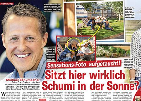 """[aus dem Innenteil von von """"Die Aktuelle""""]Sensations-Foto aufgetaucht! Sitzt hier wirklich Schumi in der Sonne? [dazu das Foto von der Website der Ranch; einer der Männer auf den Liegestühlen, den man nur von hinten sieht, ist mit einem Pfeil markiert]"""