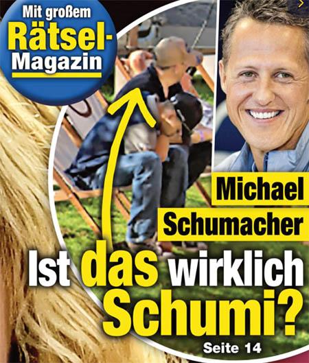 """[von der Titelseite von """"Die Aktuelle""""] Ist DAS wirklich Schumi? [dazu das gleiche Foto des nur von hinten zu sehenden Mannes von der Ranch-Website]"""
