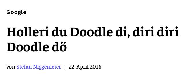 Holleri du Doodle di, diri diri Doodle dö