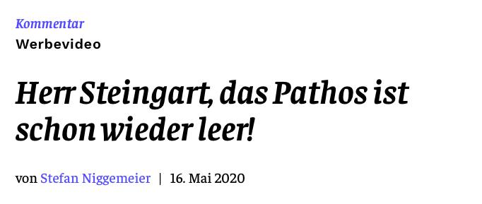 Herr Steingart, das Pathos ist schon wieder leer!