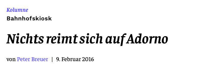 Nichts reimt sich auf Adorno