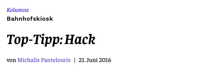 Top-Tipp: Hack