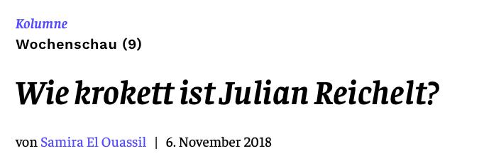 Wie krokett ist Julian Reichelt?