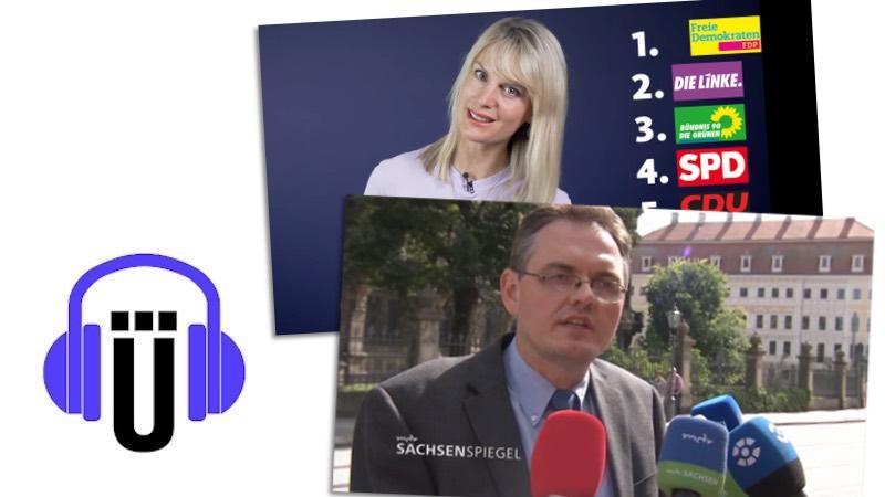 """Übermedien-Podcast mit Screenshots aus """"MDR Sachsenspiegel"""" und """"Quarks"""""""
