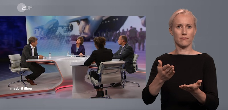 """Gebärdendolmetscherin übersetzt die ZDF-Sendung """"Maybrit Illner"""""""