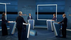"""Situation beim RTL-""""Triell"""" mit den Kandidaten und Moderatoren"""