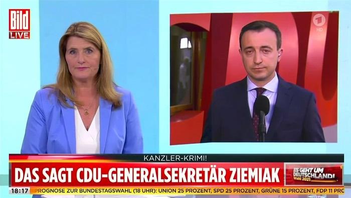 """Paul Ziemiak im ARD-Interview bei """"Bild Live"""""""
