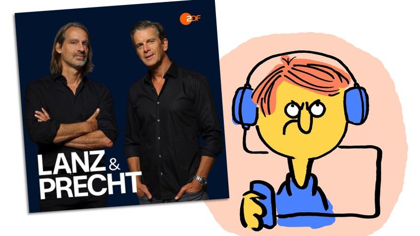 """Das Podcast-Cover von """"Lanz & Precht"""", daneben ein schlecht gelauntes Podcast-Menschchen"""