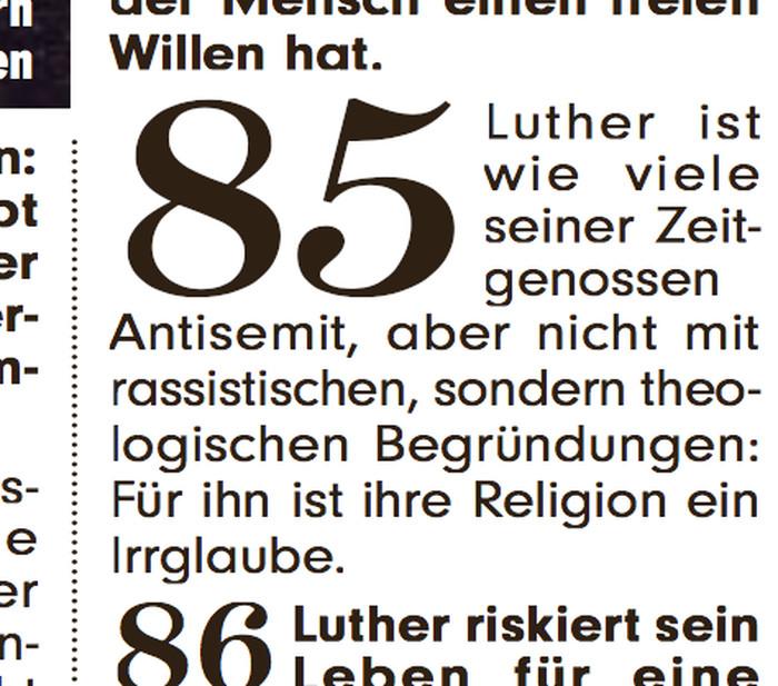 """Bild mit Text: """"Luther ist wie viele seiner Zeitgenossen Antisemit, aber nicht mit rassistischen, sondern theologischen Begründungen: Für ihn ist ihre Religion ein Irrglaube."""""""