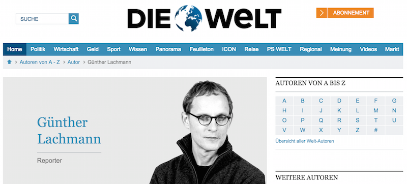 """Noch hat Lachmann ein Autorenprofil bei der """"Welt""""."""