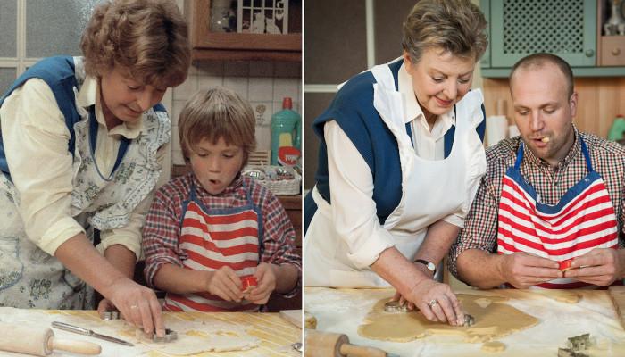 Klaus und Helga Beimer beim Plätzchenbacken in der Lindenstraße 1985 und 2012