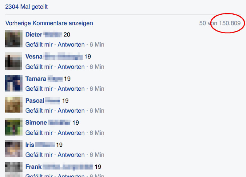 Screenshot Kommentare