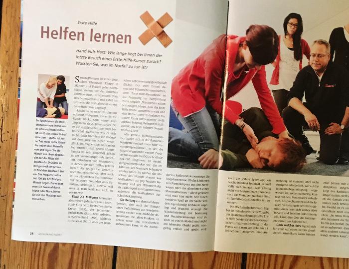 """Artikel in der Zeitschrift """"ACE Lenkrad"""" zum Thema Erste Hilfe. Überschrift: """"Helfen lernen"""""""