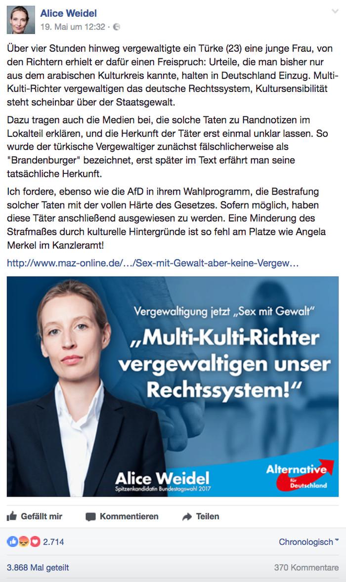 """Facebook-Posting der AfD-Spitzenkandidatin Alice Weidel vom 19.5.2017, Überschrift: """"Vergewaltigung jetzt 'Sex mit Gewalt': 'Multi-Kulti-Richter vergewaltigen unser Rechtssystem!'"""""""