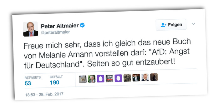Tweet des CDU-Politikers Peter Altmaier