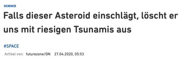 Falls dieser Asteroid einschlägt, löscht er uns mit riesigen Tsunamis aus