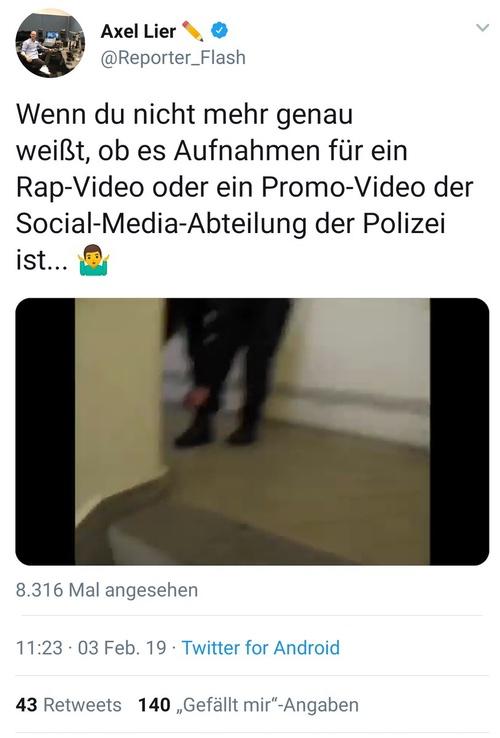 Wenn du nicht mehr genau weißt, ob es Aufnahmen für ein Rap-Video oder ein Promo-Video der Social-Media-Abteilung der Polizei ist… 🤷♂️