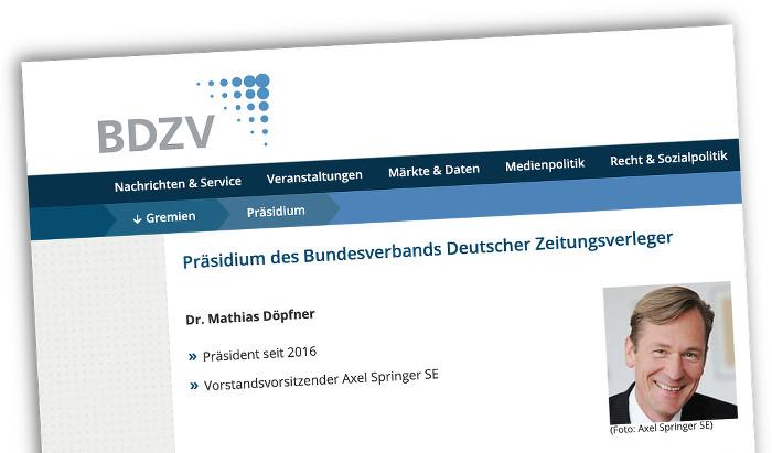 Screenshot der BDZV-Internetseite: Präsident Mathias Döpfner, kleines Foto