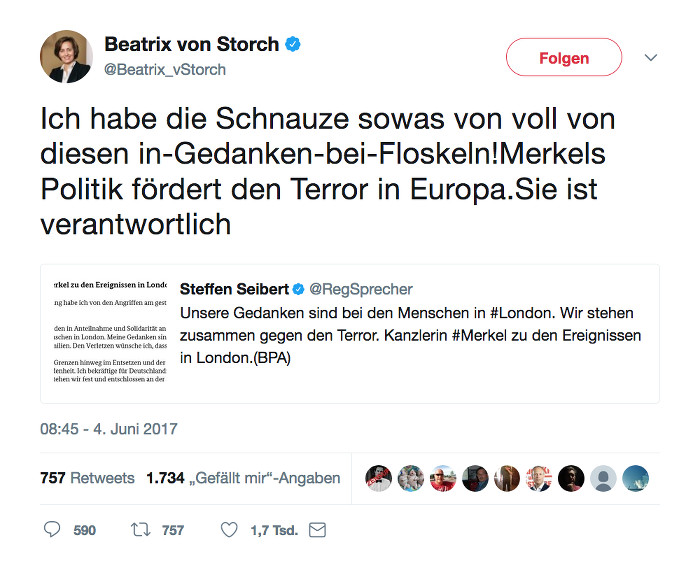 """Tweet von Beatrix von Storch (AfD): """"Ich habe die Schnauze sowas von voll von diesen in-Gedanken-bei-Floskeln!Merkels Politik fördert den Terror in Europa.Sie ist verantwortlich"""""""