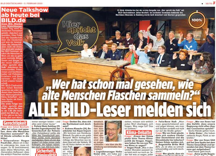 """Ausriss aus der """"Bild""""-Zeitung, Foto: Szene aus der Talkshow"""