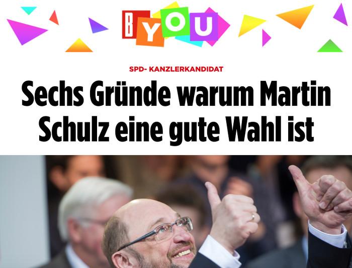 """Bunter BYou-Titelkopf, darunter ein Foto vom grinsenden Martin Schulz und die Überschrift: """"Sechs Gründe warum Martin Schulz eine gute Wahl ist"""""""