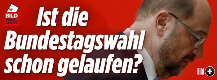 """Schlagzeile bei """"Bild.de"""" neben einem Foto von Martin Schulz: """"Ist die Bundestagswahl schon gelaufen?"""""""