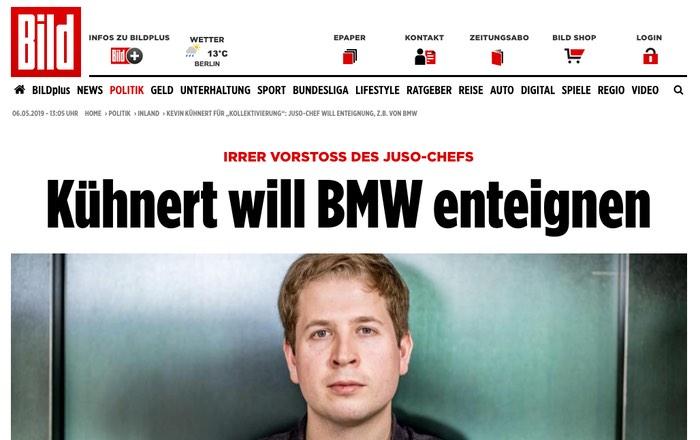 Irrer Vorstoß des Juso-Chefs: Kühnert will BMW enteignen