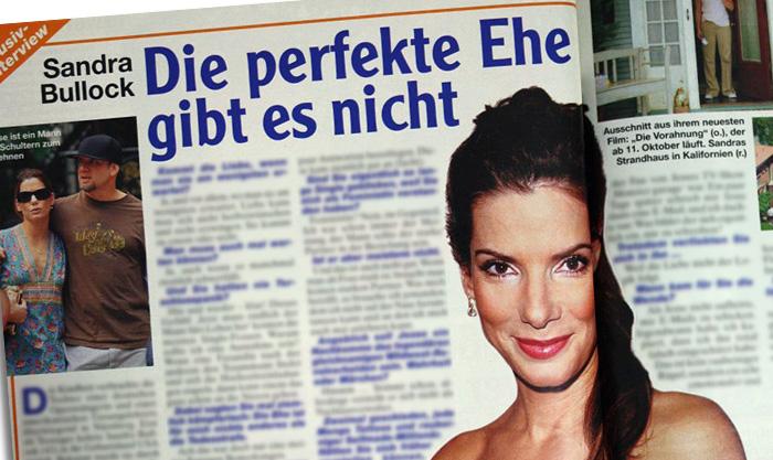 """""""Exklusiv-Interview"""" mit Sandra Bullock, Überschrift: """"Die perfekte Ehe gibt es nicht"""""""