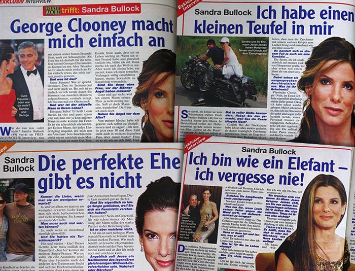 """Vier Interviews mit Sandra Bullock mit den Überschriften: """"George Clooney macht mich einfach an"""", """"Ich habe einen kleinen Teufel in mir"""", """"Die perfekte Ehe gibt es nicht"""" und """"Ich bin wie ein Elefant - ich vergesse nie!"""" Eines der Interviews trägt den Titel """"FREIZEITWOCHE trifft Sandra Bullock"""", die anderen """"Exklusiv-Interview"""""""