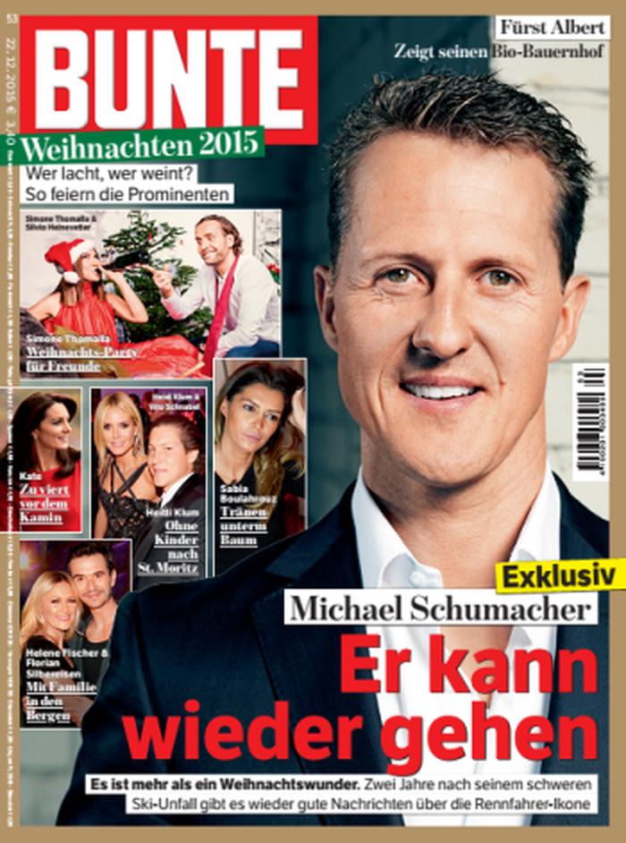 """""""Bunte""""-Titel von Dezember 2015 mit der Schlagzeile """"Exklusiv. Michael Schumacher: Er kann wieder gehen"""""""