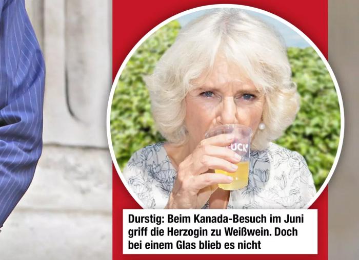 """Ein Foto, auf dem Camilla etwas trinkt. Beschriftung: """"Durstig: Beim Kanada-Besuch im Juni griff die Herzogin zu Weißwein. Doch bei einem Glas blieb es nicht."""""""