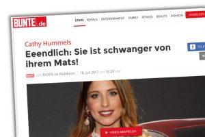 """Screenshot von Bunte.de mit einem Foto von Cathy Hummels unter der Überschrift: """"Eeendlich: Sie ist schwanger von ihrem Mats!"""""""