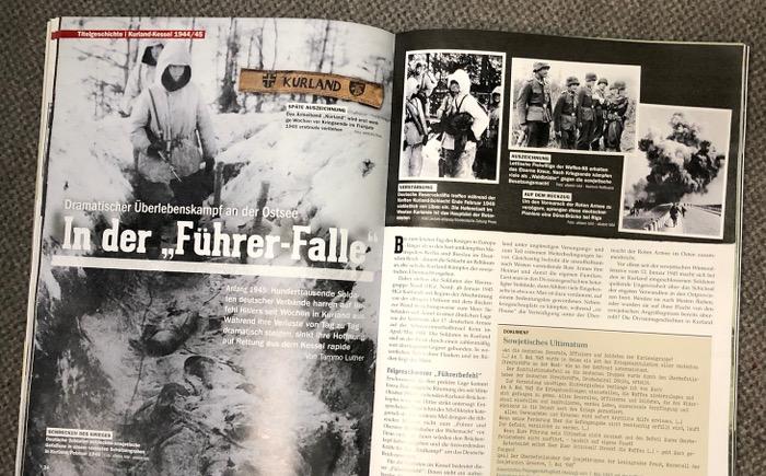 """Mehrere Fotos, schwarz-weiß: Soldaten im Graben, mit Schutzkleidung, eine Explosion. Überschrift: """"In der 'Führer-Falle'"""""""
