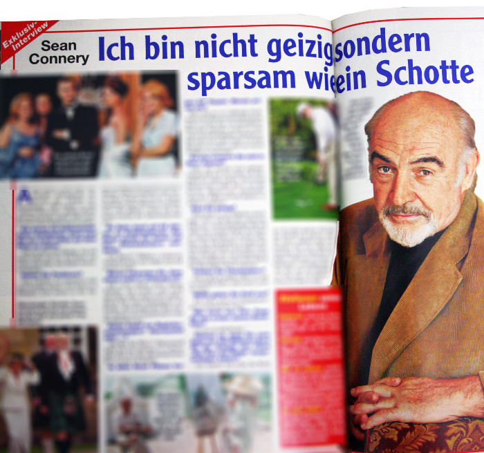 "Angeblich Interview mit Sean Connery in ""Freizeitwoche"""