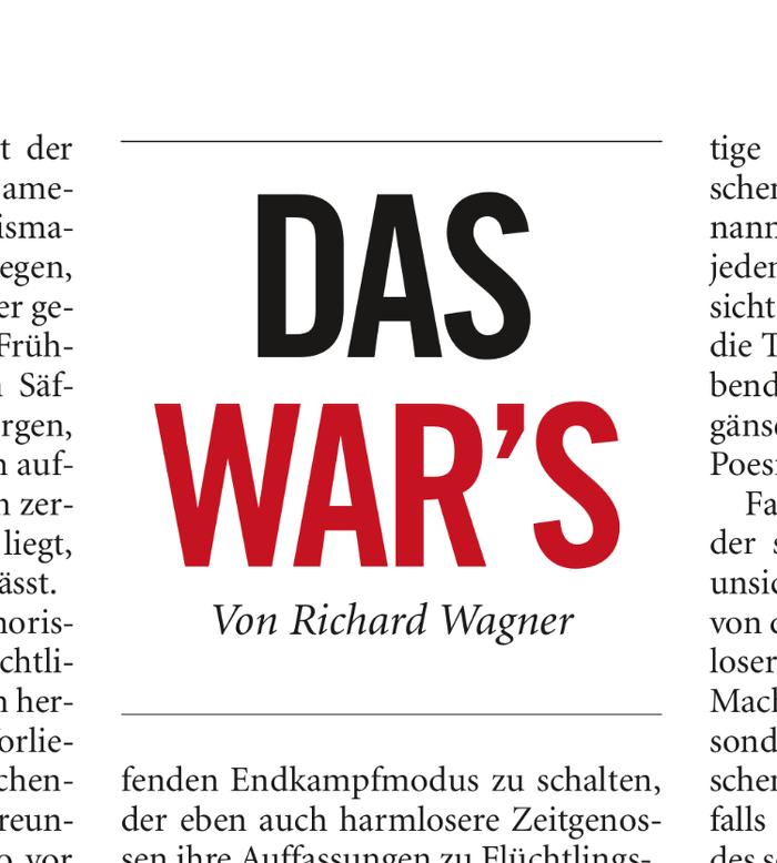 """""""Das war's"""" – """"Frankfurter Allgemeine Woche"""""""