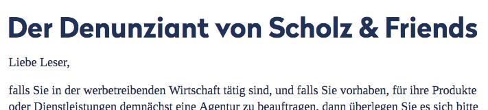 Der Denunziant von Scholz & Friends