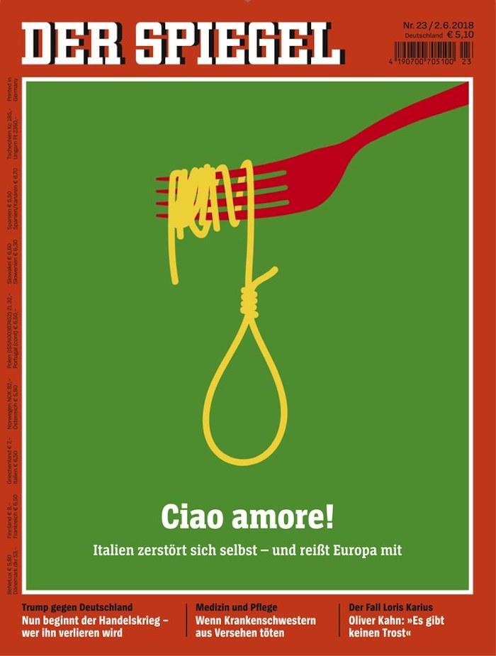 """Gabel mit Spaghetti, die zu einem Strick geformt ist. Schlagzeile: """"Ciao amore!"""""""