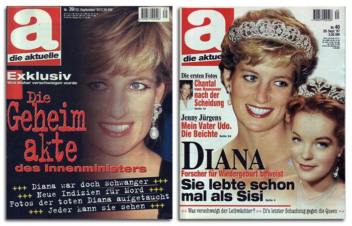 """""""Die Geheimakte des Innenministers - Diana war doch schwanger - Neue Indizien für Mord - Fotos der toten Diana aufgetaucht - Jeder kann sie sehen"""" / """"Diana - Forscher für Wiedergeburt beweist: Sie lebte schon mal als Sisi"""""""