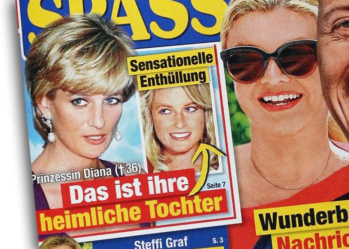 Sensationelle Enthüllung - Prinzessin Diana - Das ist ihre heimliche Tochter [mit einem Pfeil zu dem Foto einer jungen Frau, die Diana ähnlich sieht]
