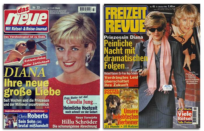 """Schlagzeilen: """"Exklusiv-Fotos voller Zärtlichkeit - DIANA - Ihre große neue große Liebe"""" / """"Prinzessin Diana - Peinliche Nacht mit dramatischen Folgen"""" (jeweils mit Paparazzi-Fotos)"""