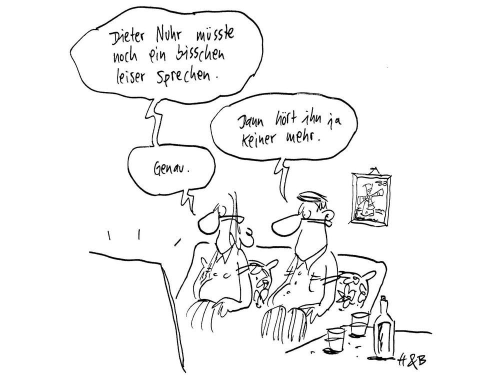 """Cartoon: """"Dieter Nuhr müsste noch ein bisschen leiser sprechen."""" - """"Dann hört ihn ja keiner mehr."""" - """"Genau."""""""