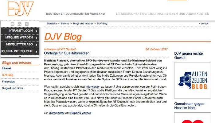 Screenshot des Blog-Eintrags, den DJV-Pressesprecher Hendrik Zörner im DJV-Blog über den Sender RT Deutsch verfasst hat.