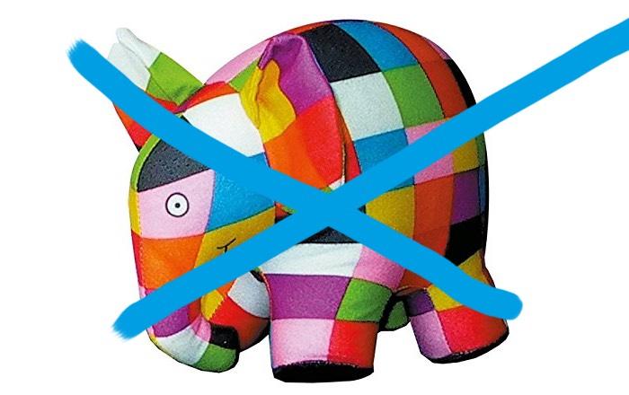 Elmar kann gar kein richtiger Elefant sein, denn richtige Elefanten sind grau.