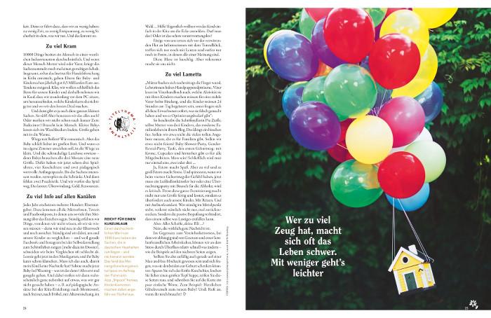 """Doppelseite aus """"Eltern"""": Links Text, rechts ein kleines Haus, das an vielen bunten Luftballons hängt, dazu die Zeile: """"Wer zu viel Zeug hat, macht sich oft das Leben schwer. Mit weniger geht's leichter."""""""